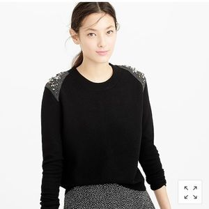 J.Crew Jeweled Wool Black Sweater Size Small